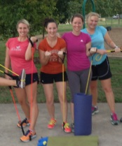 Sleep gives us energy for friends and resistance training at Molly's Cross Training class