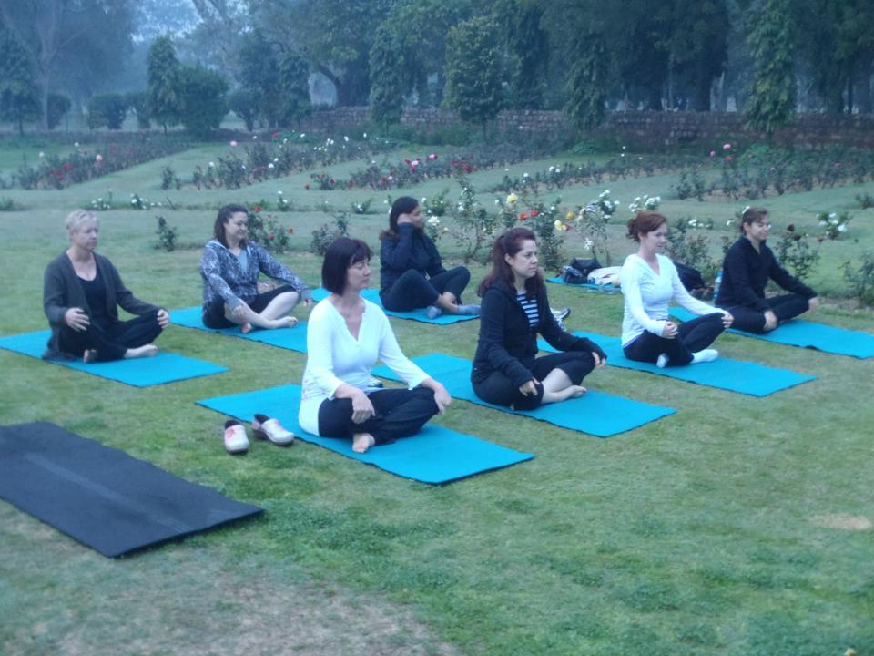 Yoga in the lhodi gardens in Delhi