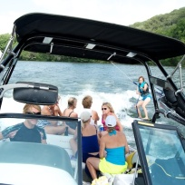 Teaching others to ski, slalom and wake surf at Lake Escape class