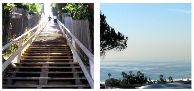 the Santa Monica steps