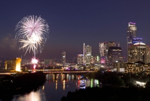 4th of July Fireworks in downtown Austin