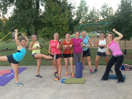 Celebrating an awesome workout at Pease Park after Molly's 6PM Cross Training class