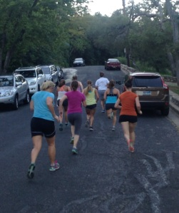 iGniters at Molly's 6 PM Cross Training class sprinting Pease Park hill