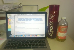 Always within reach while working, my cranberry water and daily kombucha