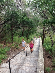 a great Cardio Combo class at Mount Bonnell