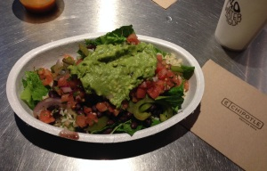 dinner time: a Chipotle bowl