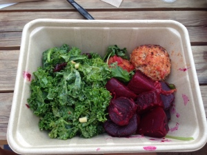 My Whole Foods dinner of kale salad, quinoa turkey balls and beets