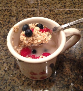 I started the morning today, as I have every day during the reboot, with hot lemon water and gluten free oats topped with berries.