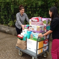Last year's diaper drive drop-off at Any Bay Can. Thanks to your donations at our 2013 Christmas party, this was one of many fully-loaded carts