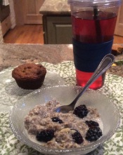 Breakfast of Paleo pumpkin muffin and 5 minute Oatmeal Power Bowl (1/2 recipe) with blackberries