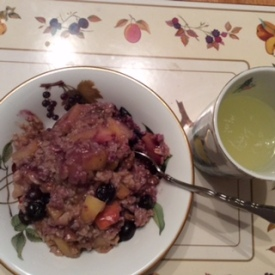 Breakfast was gluten-free oatmeal cooked with apple, cake spice, walnuts, a date & blueberries. And the yummy hot lemon water.