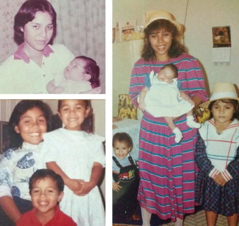 Clockwise from top left: with newborn Silvia in Nicaragua, with all 3 children in Austin, the children growing up in Austin