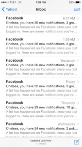Facebook emails begging me to give in and check my Facebook!