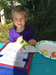 My son Weston and I sat outside and did homework and had a snack together