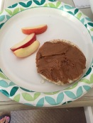 Snack: rice cracker with peanut butter and apples