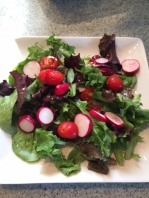 Dinner side salad: green salad with lemon balsamic dressing
