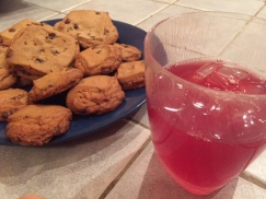 "My dessert vs. everyone else's: Cranberry ACV ""Cocktail"" vs. Nestle cookies. The cookie smell was taunting me!"