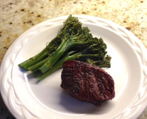 Dinner: sirloin steak and baby broccoli