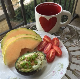 Breakfast: Avocado boat, tomatoes, cantaloupe and lemon water