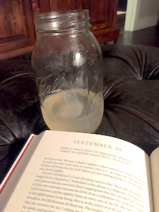 After getting a little over 8 glorious hours of sleep, I started my day with hot lemon water and apple cider vinegar while reading my devotional in the peaceful quiet of morning. (Note: Don't let this fool you. While I earnestly wish that this were how I started each day, most of the time my mornings look nothing like this. Thanks to the re-boot I have been afforded the opportunity to refocus my time and choices and I've taken full advantage!