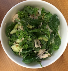 (Late) lunch: Spinach and kale salad with chicken, avocado, cucumber, pumpkin seeds, and a dollop of hummus. Not pictured: an apple.