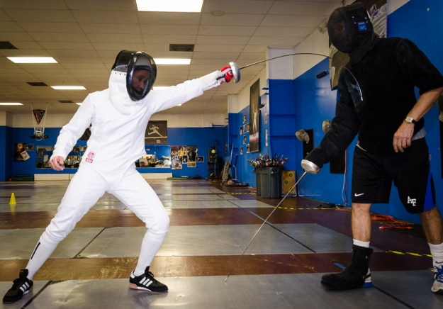 Fencing with coach Mike at Texas Fencing Academy