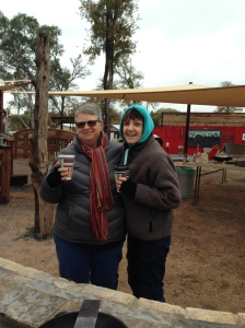 Suzanne McConkey & I drinking cowboy coffee, as we get lunch ready for everyone at Community First! Village